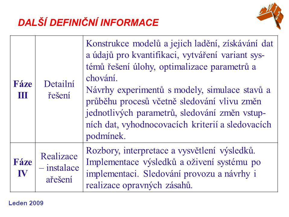 Leden 2009 Fáze III Detailní řešení Konstrukce modelů a jejich ladění, získávání dat a údajů pro kvantifikaci, vytváření variant sys- témů řešení úlohy, optimalizace parametrů a chování.
