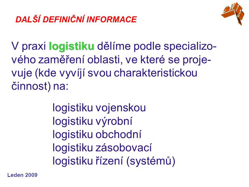Leden 2009 logistiku V praxi logistiku dělíme podle specializo- vého zaměření oblasti, ve které se proje- vuje (kde vyvíjí svou charakteristickou činnost) na: DALŠÍ DEFINIČNÍ INFORMACE logistiku vojenskou logistiku výrobní logistiku obchodní logistiku zásobovací logistiku řízení (systémů)