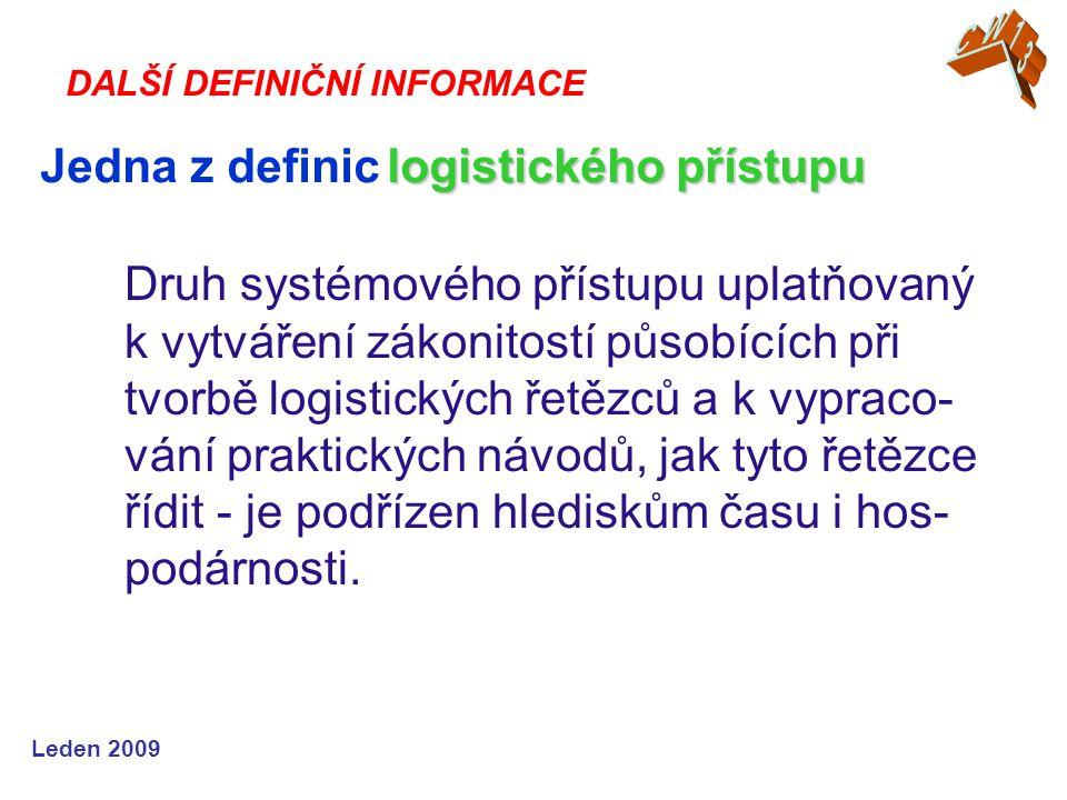Leden 2009 Druh systémového přístupu uplatňovaný k vytváření zákonitostí působících při tvorbě logistických řetězců a k vypraco- vání praktických návodů, jak tyto řetězce řídit - je podřízen hlediskům času i hos- podárnosti.