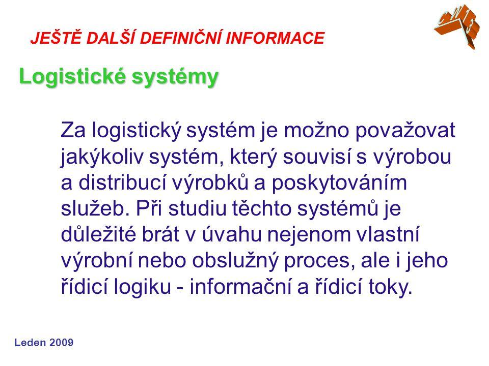 Leden 2009 Za logistický systém je možno považovat jakýkoliv systém, který souvisí s výrobou a distribucí výrobků a poskytováním služeb.