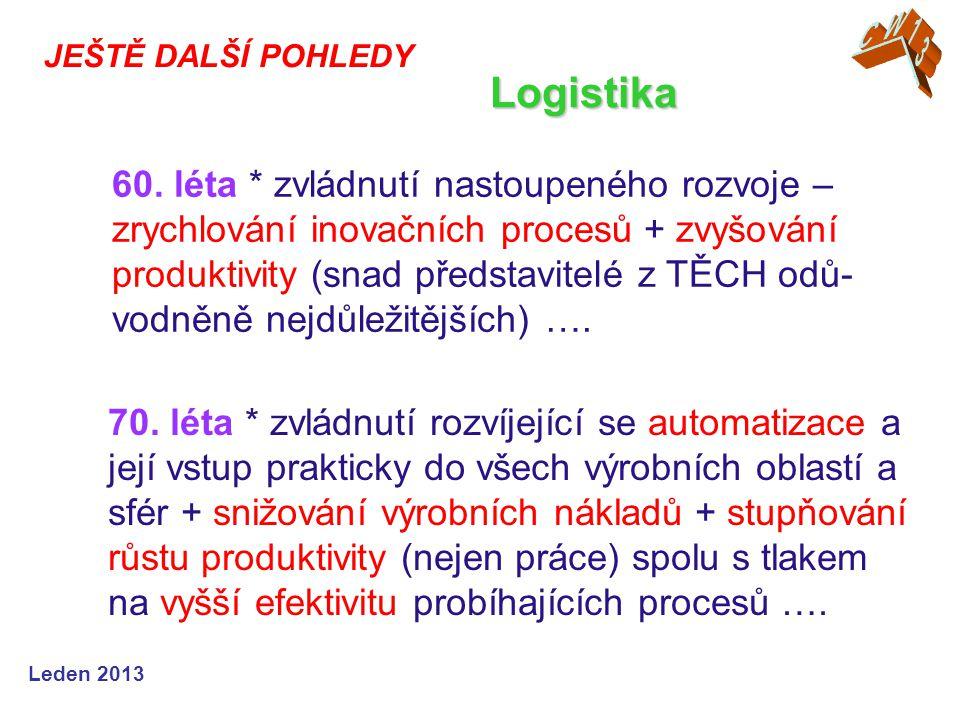 Leden 2013 JEŠTĚ DALŠÍ POHLEDY Logistika 60.