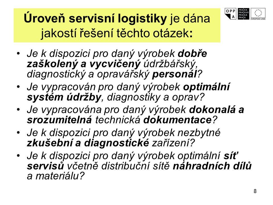 8 Úroveň servisní logistiky je dána jakostí řešení těchto otázek: Je k dispozici pro daný výrobek dobře zaškolený a vycvičený údržbářský, diagnostický