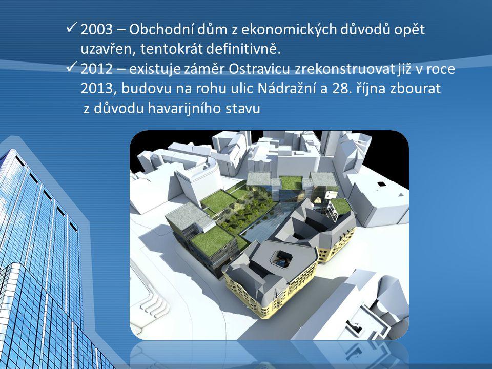 2003 – Obchodní dům z ekonomických důvodů opět uzavřen, tentokrát definitivně. 2012 – existuje záměr Ostravicu zrekonstruovat již v roce 2013, budovu
