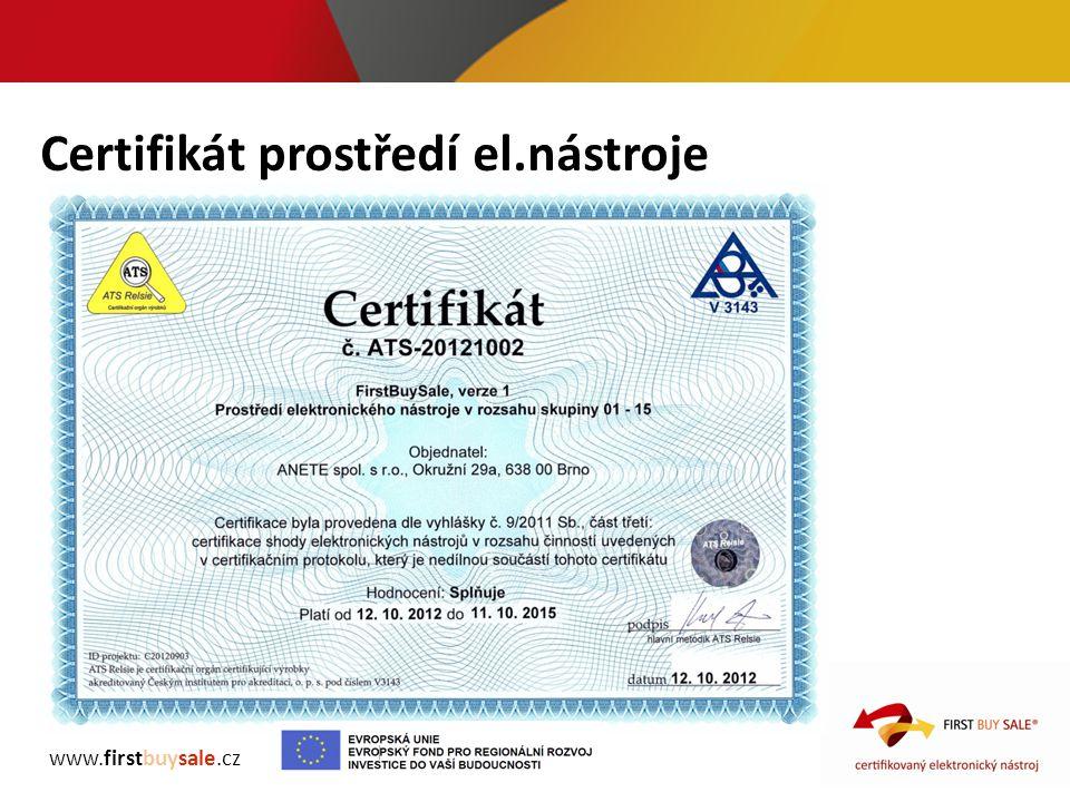 Certifikát prostředí el.nástroje www.firstbuysale.cz