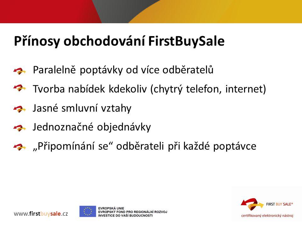 Přínosy obchodování FirstBuySale www.firstbuysale.cz Paralelně poptávky od více odběratelů Tvorba nabídek kdekoliv (chytrý telefon, internet) Jasné sm