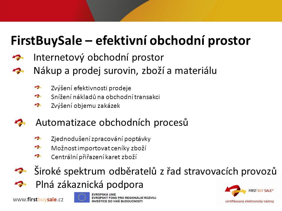 FirstBuySale – efektivní obchodní prostor www.firstbuysale.cz Internetový obchodní prostor Nákup a prodej surovin, zboží a materiálu Automatizace obch