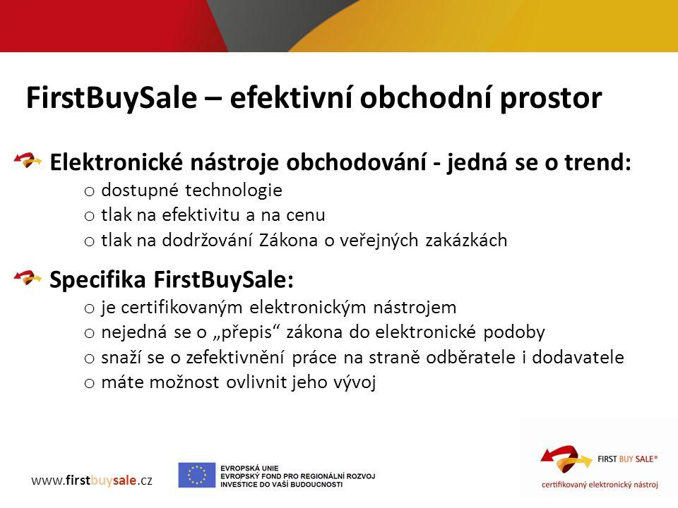 FirstBuySale – efektivní obchodní prostor www.firstbuysale.cz Elektronické nástroje obchodování - jedná se o trend: o dostupné technologie o tlak na e
