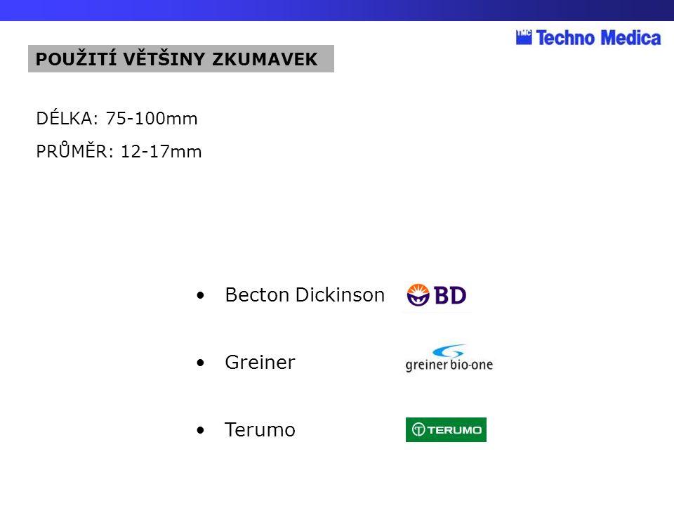 Becton Dickinson Greiner Terumo DÉLKA: 75-100mm PRŮMĚR: 12-17mm POUŽITÍ VĚTŠINY ZKUMAVEK