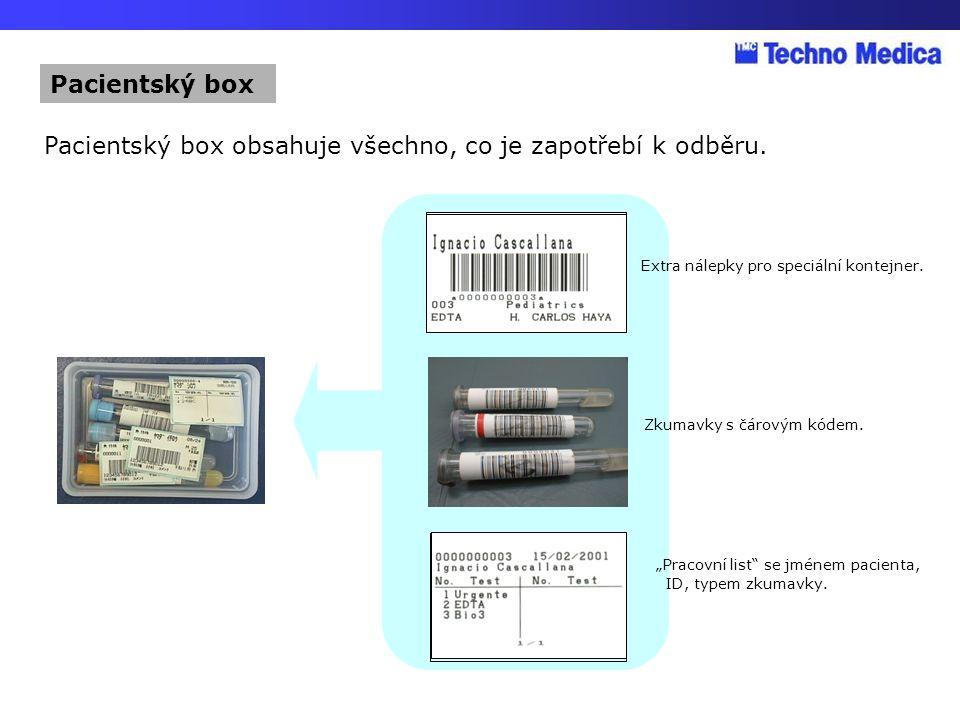 """Extra nálepky pro speciální kontejner. Zkumavky s čárovým kódem. """"Pracovní list"""" se jménem pacienta, ID, typem zkumavky. Pacientský box obsahuje všech"""