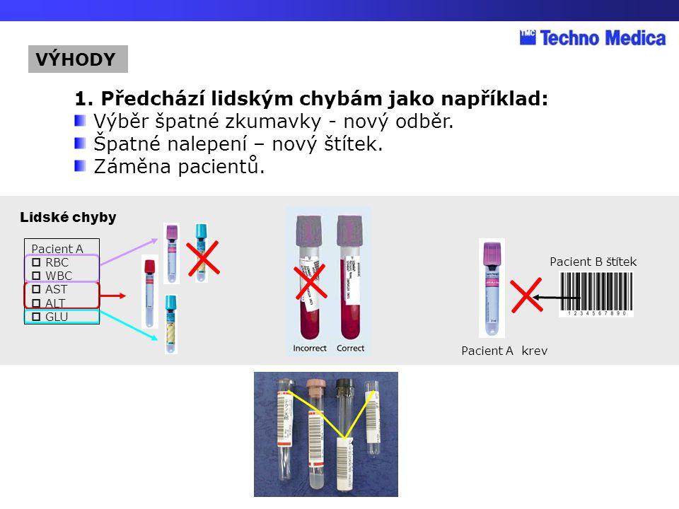 Pacient A krev Pacient B štítek Pacient A  RBC  WBC  AST  ALT  GLU Lidské chyby 1. Předchází lidským chybám jako například: Výběr špatné zkumavky