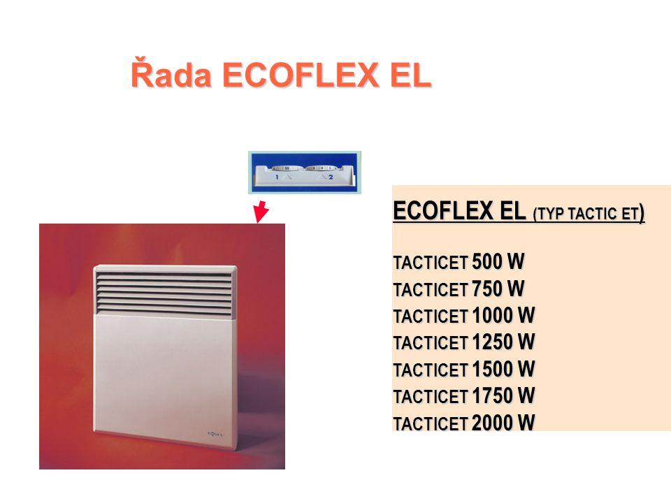 ECOFLEX EL - řídicí jednotka  Dvoupolohový spínač  Cejchovaný a uzamykatelný číselník termostatu s polohou Nezámrzný režim  Světelná kontrolka funk