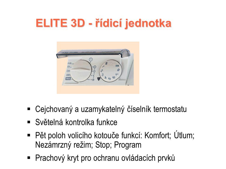 ELITE 3D - SPECIFIKACE Digitální termostat A.S.I.C Vysoce kvalitní ovládání Programovatelný pomocí ochranného vodiče Pro ještě větší úspory Speciální