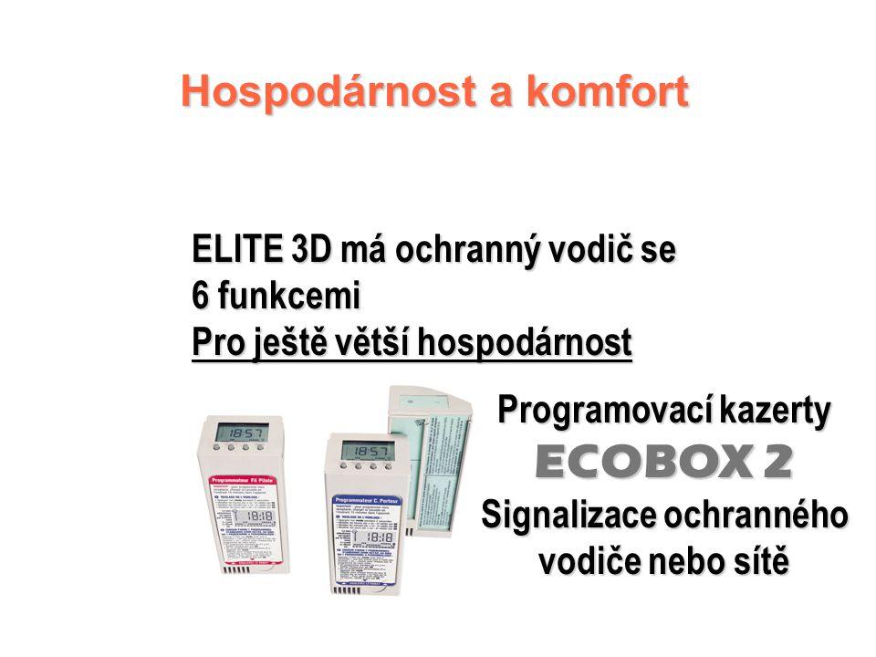 ELITE 3D - řídicí jednotka   Cejchovaný a uzamykatelný číselník termostatu   Světelná kontrolka funkce   Pět poloh volicího kotouče funkcí: Komf