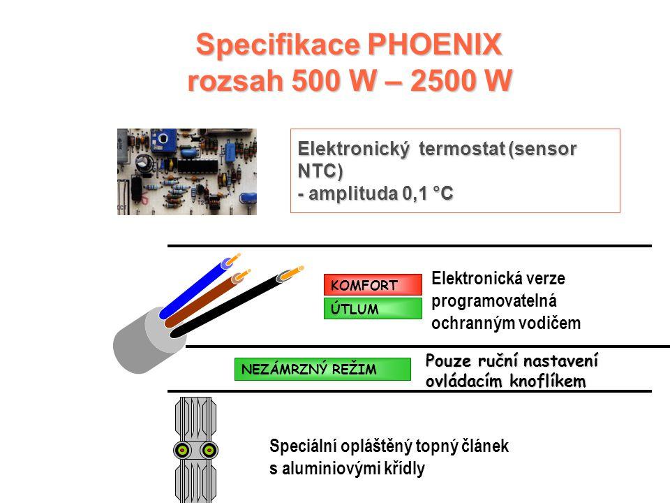 Speciální opláštěný topný článek s aluminiovými křídly Elektronická verze programovatelná ochranným vodičem KOMFORT ÚTLUM Specifikace PHOENIX rozsah 500 W – 2500 W Elektronický termostat (sensor NTC) - amplituda 0,1 °C NEZÁMRZNÝ REŽIM Pouze ruční nastavení ovládacím knoflíkem