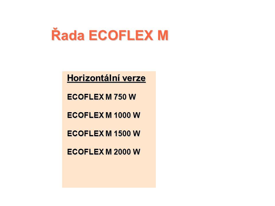 ECOFLEX M – řídicí jednotka  Dvoupolohový spínač  Cejchovaný a uzamykatelný číselník termostatu s polohou Nezámrzný režim  Světelná kontrolka funkc