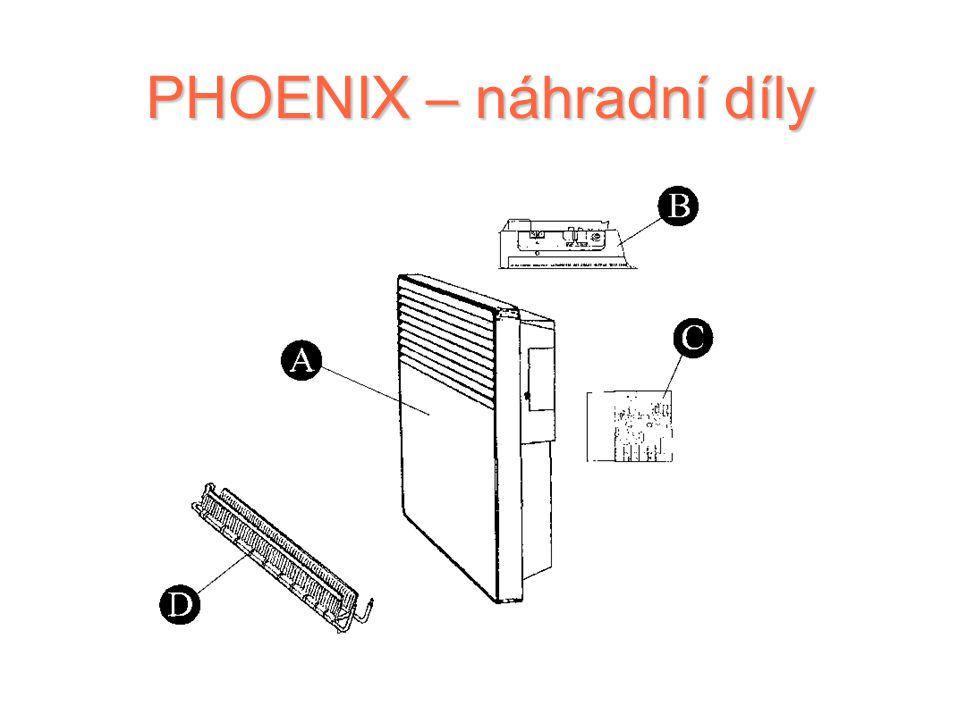 PHOENIX – řídicí jednotka Ovládací prvky elektronického modelu (umístěné v pravém horním rohu) Dvoupolohový spínač Knoflík pro nastavení teploty (nad
