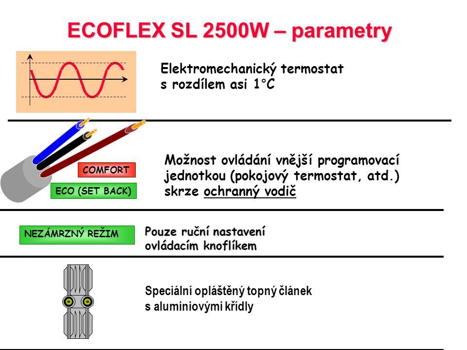 ECOFLEX ECOFLEX  2 řady ECOFLEX SL Elektromechanická verze ECOFLEX EL Elektronická verze Elektronická verze  Řídicí jednotka umístěna na vrchní stra