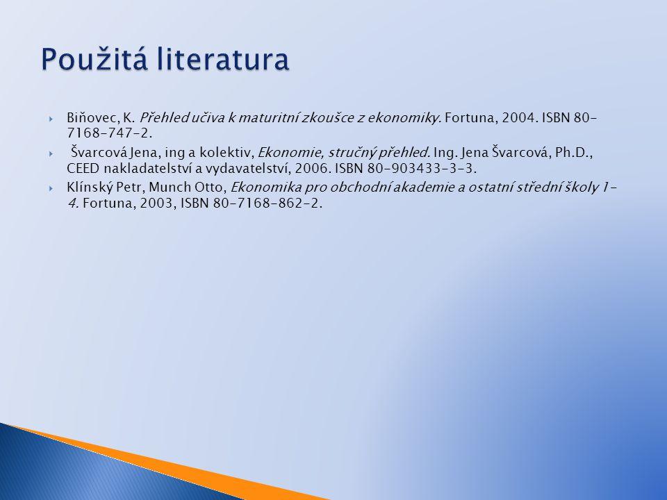  Biňovec, K. Přehled učiva k maturitní zkoušce z ekonomiky. Fortuna, 2004. ISBN 80- 7168-747-2.  Švarcová Jena, ing a kolektiv, Ekonomie, stručný př