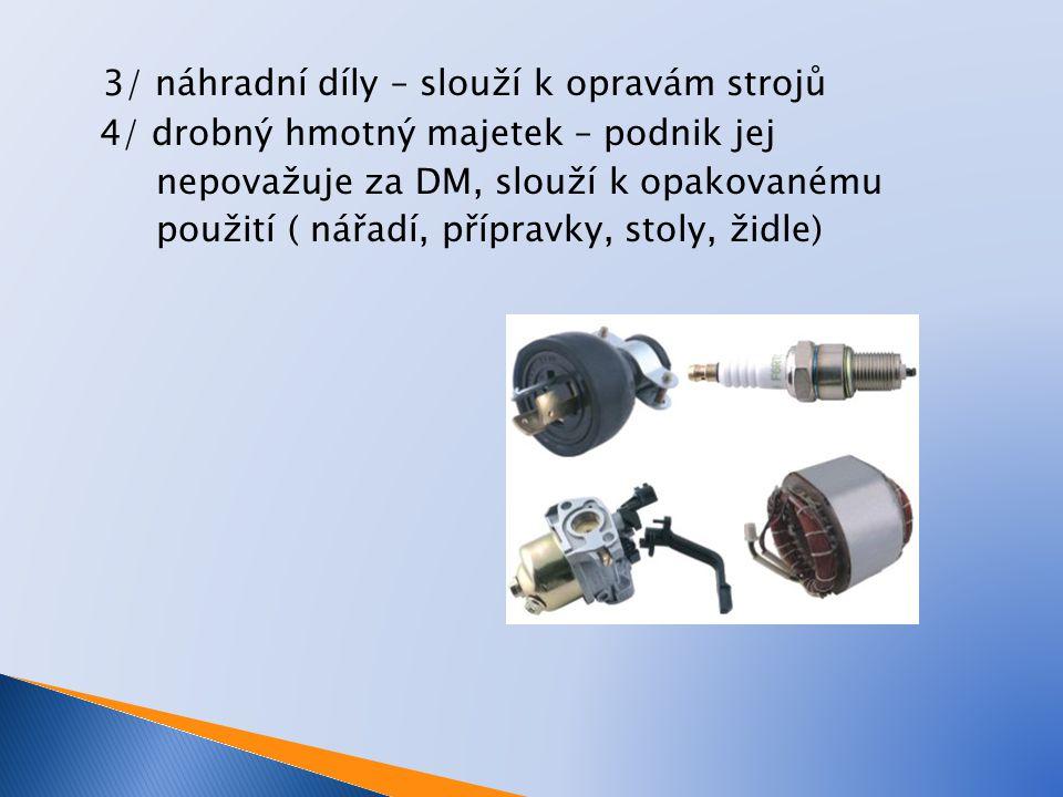 3/ náhradní díly – slouží k opravám strojů 4/ drobný hmotný majetek – podnik jej nepovažuje za DM, slouží k opakovanému použití ( nářadí, přípravky, s