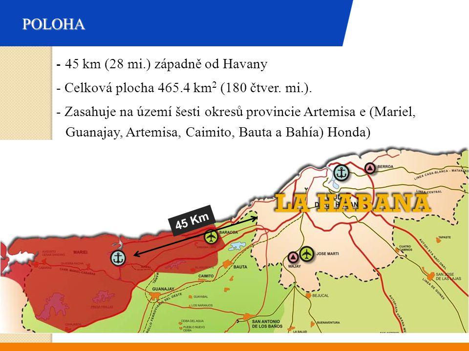 POLOHA - 45 km (28 mi.) západně od Havany - Celková plocha 465.4 km 2 (180 čtver. mi.). - Zasahuje na území šesti okresů provincie Artemisa e (Mariel,