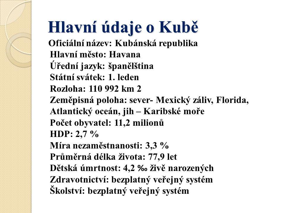 Hlavní údaje o Kubě Oficiální název: Kubánská republika Hlavní město: Havana Úřední jazyk: španělština Státní svátek: 1. leden Rozloha: 110 992 km 2 Z