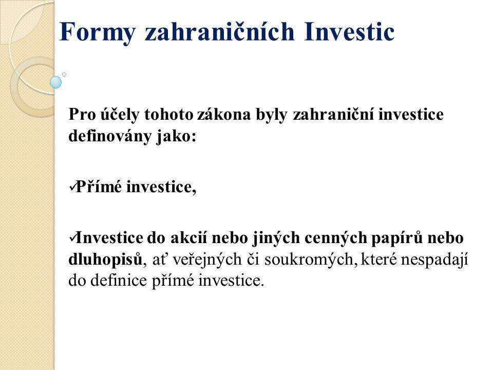 Pro účely tohoto zákona byly zahraniční investice definovány jako: Přímé investice, Investice do akcií nebo jiných cenných papírů nebo dluhopisů, ať v