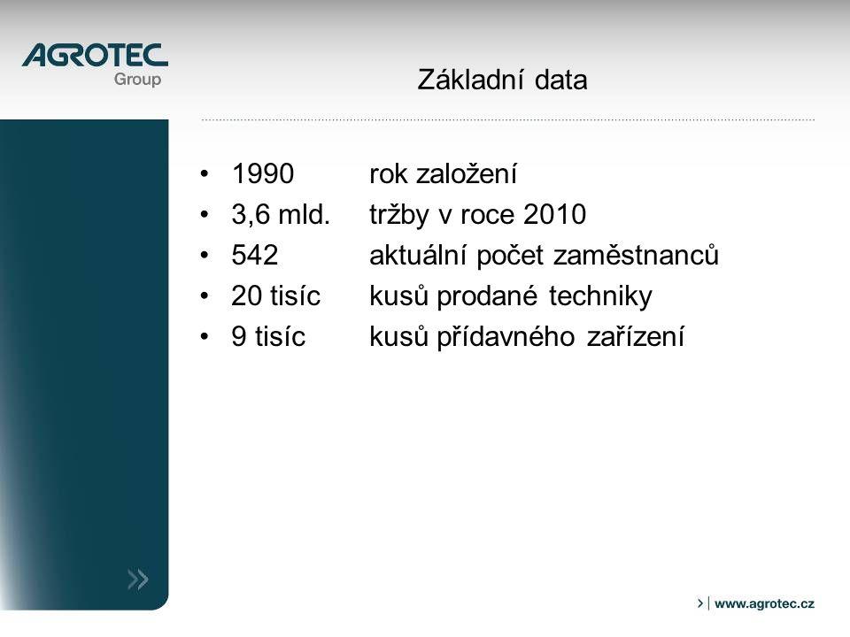 Základní data 1990 rok založení 3,6 mld. tržby v roce 2010 542 aktuální počet zaměstnanců 20 tisíc kusů prodané techniky 9 tisíckusů přídavného zaříze