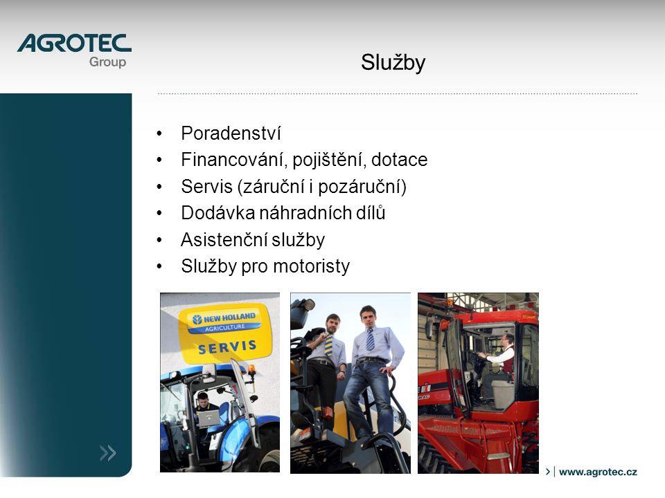 Služby Poradenství Financování, pojištění, dotace Servis (záruční i pozáruční) Dodávka náhradních dílů Asistenční služby Služby pro motoristy
