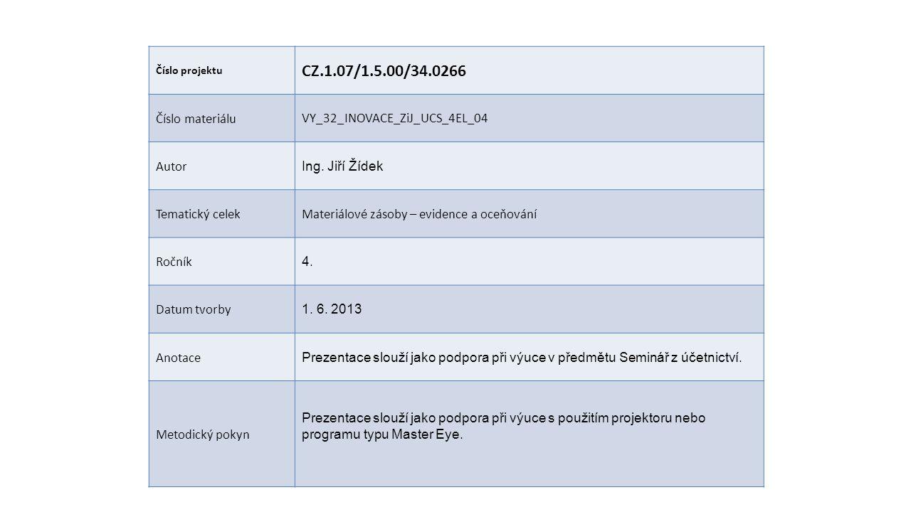 Číslo projektu CZ.1.07/1.5.00/34.0266 Číslo materiáluVY_32_INOVACE_ZiJ_UCS_4EL_04 Autor Ing.
