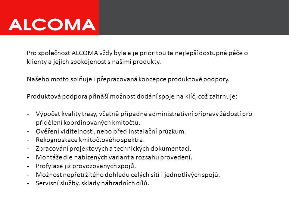 Pro společnost ALCOMA vždy byla a je prioritou ta nejlepší dostupná péče o klienty a jejich spokojenost s našimi produkty.
