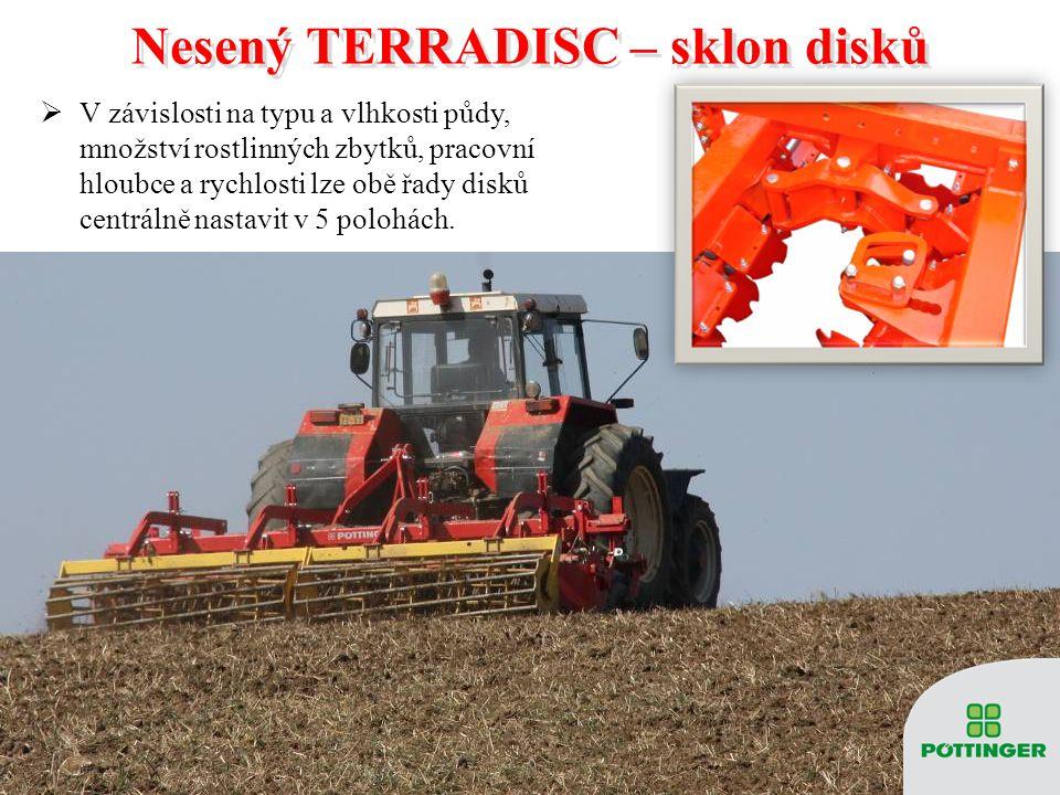 Nesený TERRADISC – sklon disků Nesený TERRADISC – sklon disků  V závislosti na typu a vlhkosti půdy, množství rostlinných zbytků, pracovní hloubce a rychlosti lze obě řady disků centrálně nastavit v 5 polohách.