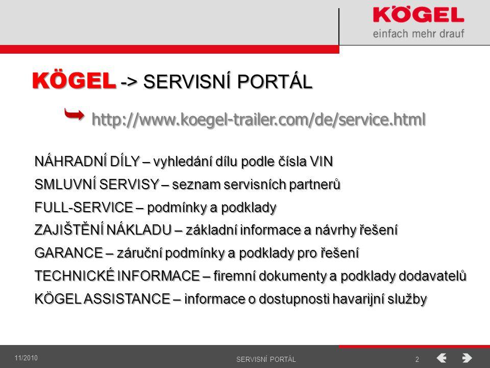 11/2010 3SERVISNÍ PORTÁL  http://www.koegel.com