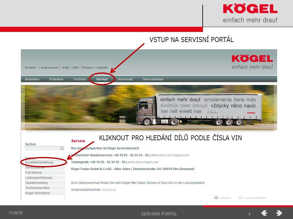 11/2010 5SERVISNÍ PORTÁL Zapsat číslo podvozku (VIN) a kliknout na symbol - GO.