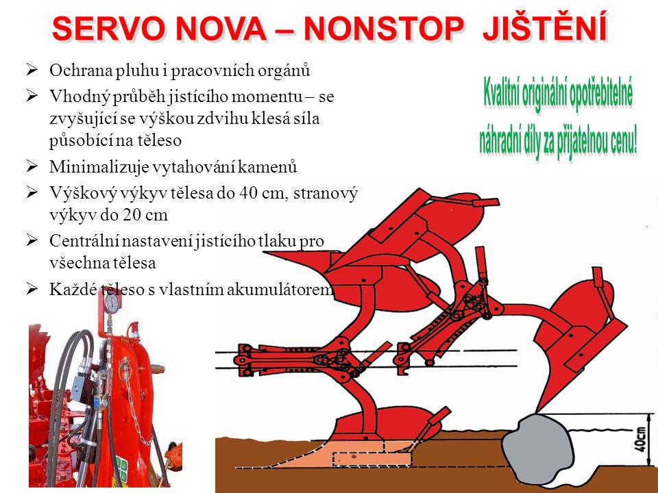 SERVO NOVA – NONSTOP JIŠTĚNÍ SERVO NOVA – NONSTOP JIŠTĚNÍ  Ochrana pluhu i pracovních orgánů  Vhodný průběh jistícího momentu – se zvyšující se výšk