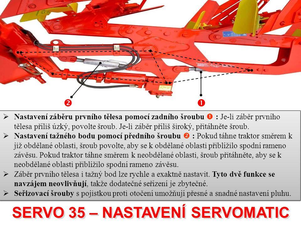  SERVO 35 – NASTAVENÍ SERVOMATIC SERVO 35 – NASTAVENÍ SERVOMATIC  Nastavení záběru prvního tělesa pomocí zadního šroubu  : Je-li záběr prvního těl