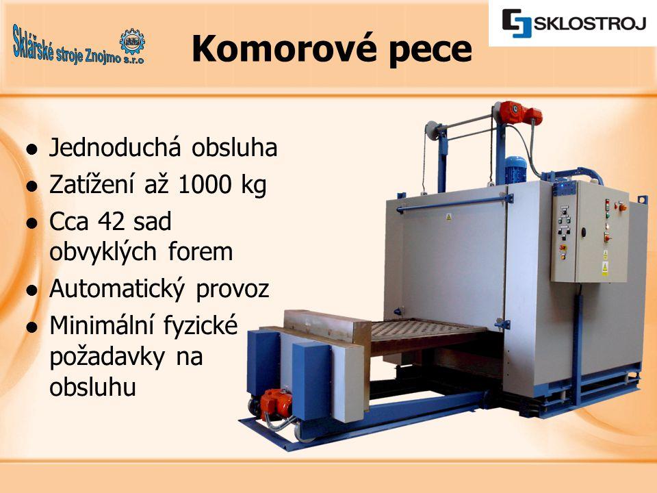 Jednoduchá obsluha Zatížení až 1000 kg Cca 42 sad obvyklých forem Automatický provoz Minimální fyzické požadavky na obsluhu Komorové pece