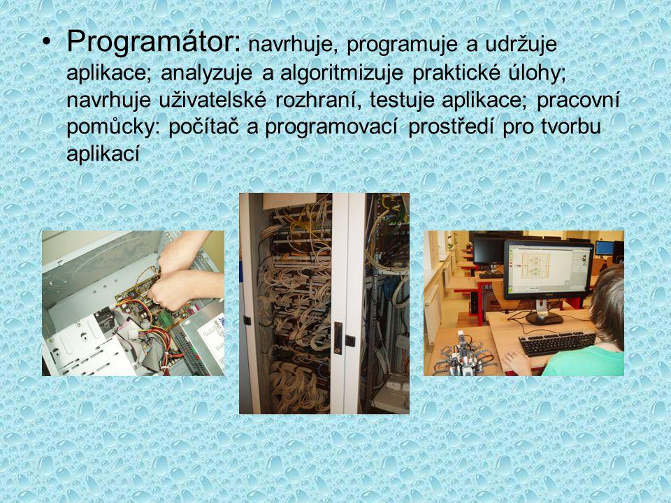 Programátor: navrhuje, programuje a udržuje aplikace; analyzuje a algoritmizuje praktické úlohy; navrhuje uživatelské rozhraní, testuje aplikace; pracovní pomůcky: počítač a programovací prostředí pro tvorbu aplikací