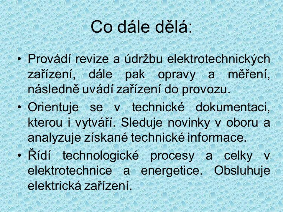 Co dále dělá: Provádí revize a údržbu elektrotechnických zařízení, dále pak opravy a měření, následně uvádí zařízení do provozu.