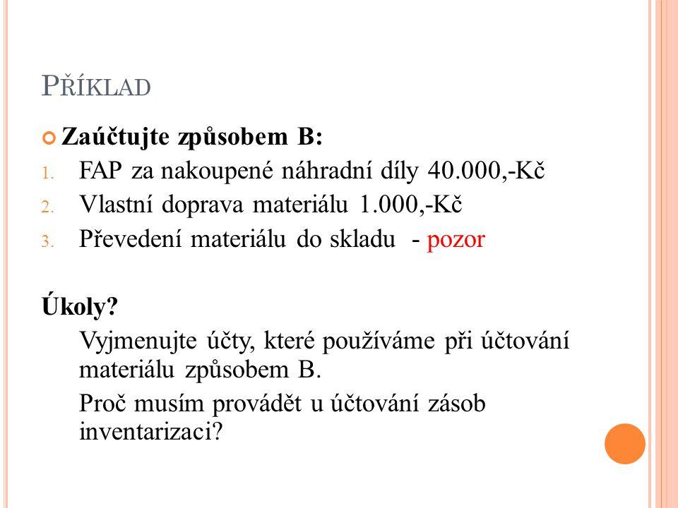 P ŘÍKLAD Zaúčtujte způsobem B: 1. FAP za nakoupené náhradní díly 40.000,-Kč 2.