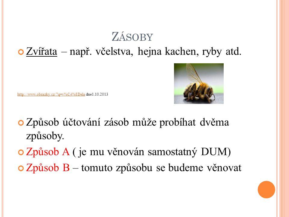 Z ÁSOBY Zvířata – např. včelstva, hejna kachen, ryby atd.