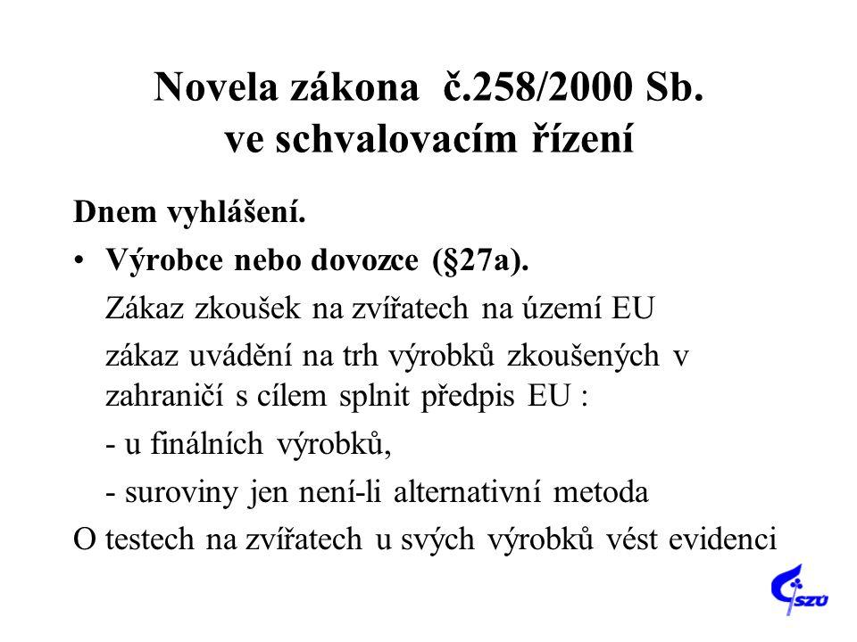 Novela zákona č.258/2000 Sb. ve schvalovacím řízení Dnem vyhlášení. Výrobce nebo dovozce (§27a). Zákaz zkoušek na zvířatech na území EU zákaz uvádění