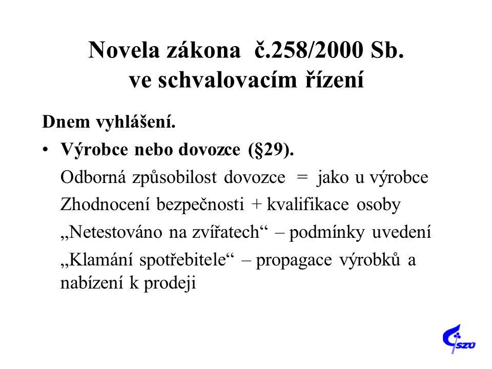 Novela zákona č.258/2000 Sb. ve schvalovacím řízení Dnem vyhlášení. Výrobce nebo dovozce (§29). Odborná způsobilost dovozce = jako u výrobce Zhodnocen