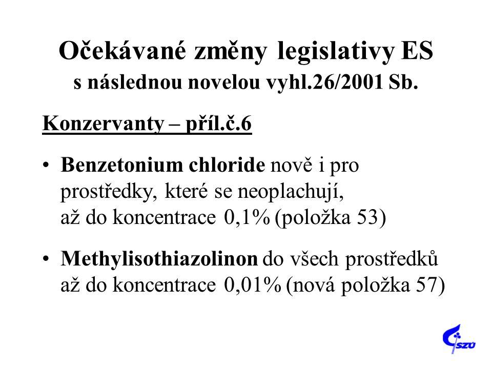 Očekávané změny legislativy ES s následnou novelou vyhl.26/2001 Sb. Konzervanty – příl.č.6 Benzetonium chloride nově i pro prostředky, které se neopla