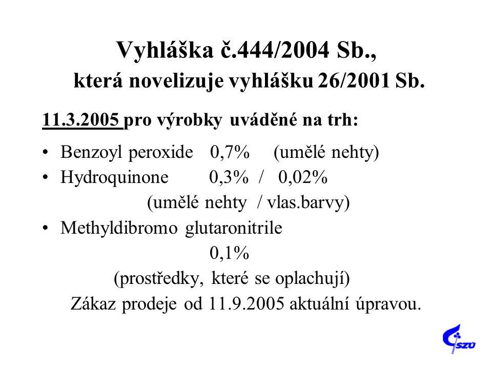 Vyhláška č.444/2004 Sb., která novelizuje vyhlášku 26/2001 Sb. 11.3.2005 pro výrobky uváděné na trh: Benzoyl peroxide 0,7% (umělé nehty) Hydroquinone