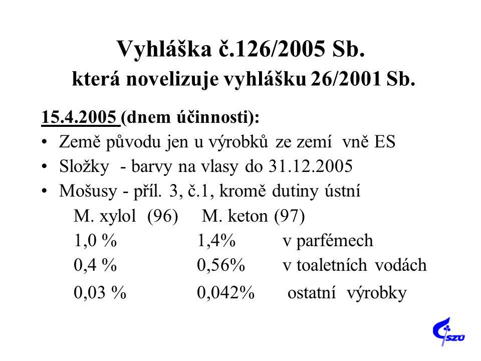 Vyhláška č.126/2005 Sb. která novelizuje vyhlášku 26/2001 Sb. 15.4.2005 (dnem účinnosti): Země původu jen u výrobků ze zemí vně ES Složky - barvy na v