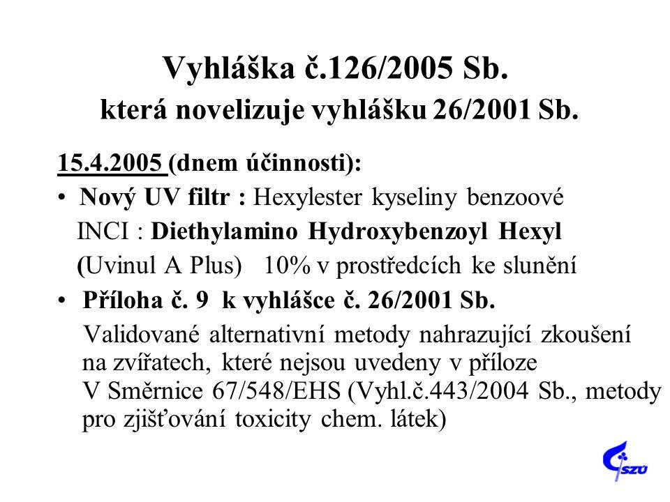 Vyhláška č.126/2005 Sb. která novelizuje vyhlášku 26/2001 Sb. 15.4.2005 (dnem účinnosti): Nový UV filtr : Hexylester kyseliny benzoové INCI : Diethyla
