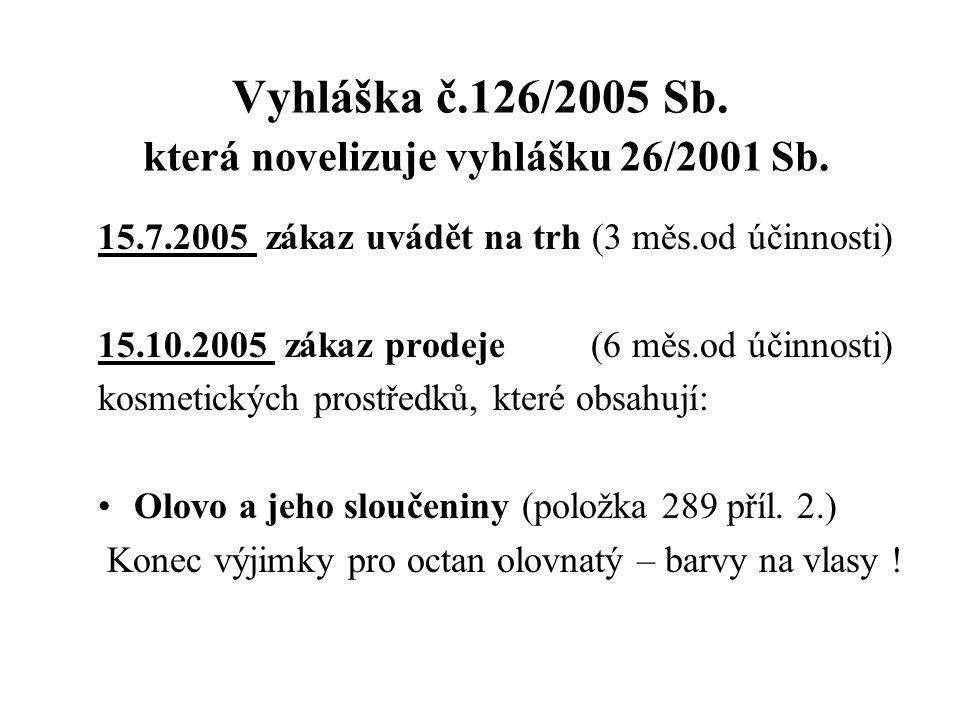 Vyhláška č.126/2005 Sb. která novelizuje vyhlášku 26/2001 Sb. 15.7.2005 zákaz uvádět na trh (3 měs.od účinnosti) 15.10.2005 zákaz prodeje (6 měs.od úč