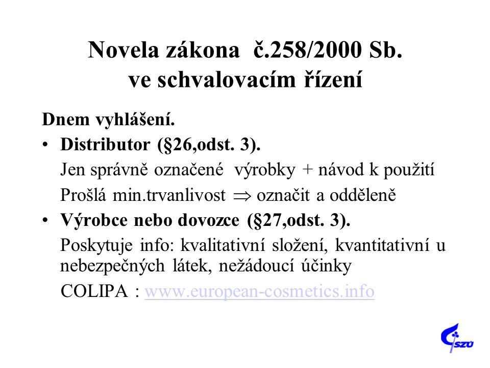 Novela zákona č.258/2000 Sb. ve schvalovacím řízení Dnem vyhlášení. Distributor (§26,odst. 3). Jen správně označené výrobky + návod k použití Prošlá m