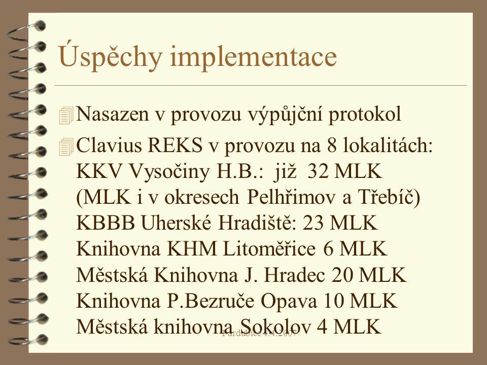 Úspěchy implementace 4 Nasazen v provozu výpůjční protokol 4 Clavius REKS v provozu na 8 lokalitách: KKV Vysočiny H.B.: již 32 MLK (MLK i v okresech Pelhřimov a Třebíč) KBBB Uherské Hradiště: 23 MLK Knihovna KHM Litoměřice 6 MLK Městská Knihovna J.