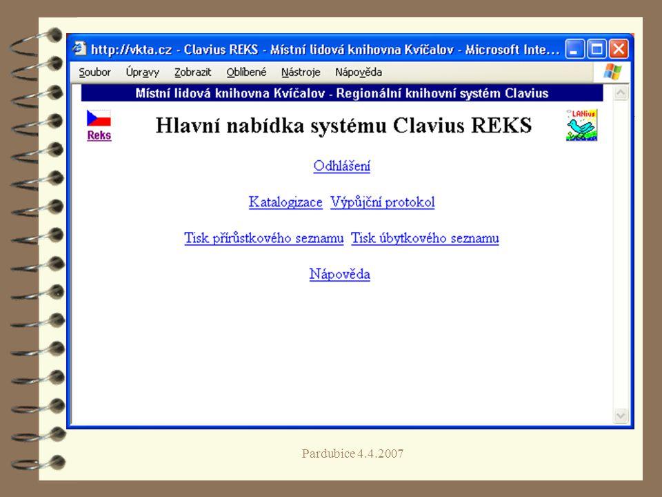 Pardubice 4.4.2007 Schéma fungování REKS Krajská knihovna Knihovna s RF ObK MěK ObK